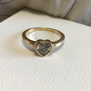 CZ heart pandora ring